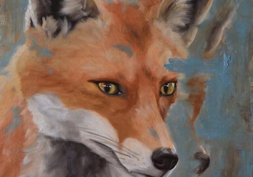 Oil Painting Of A Fox Focused On Something