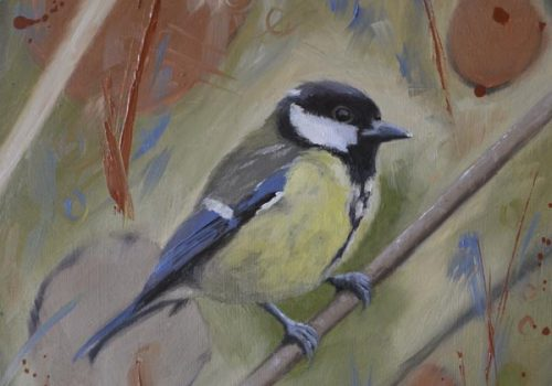 Oil Painting Of A Great Tit
