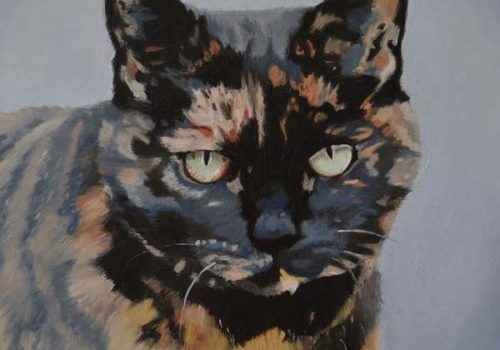 Oil Painting Of Guinness The Cat