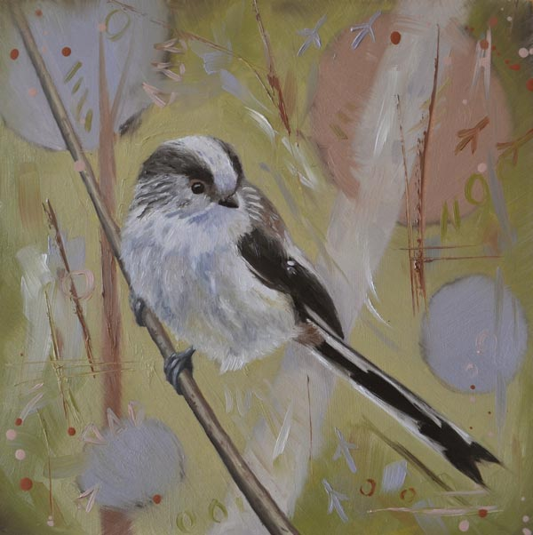 Oil Painting Of A Long-tailed Tit