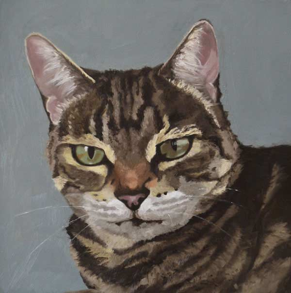 Oil painting of Minx, tabby cat