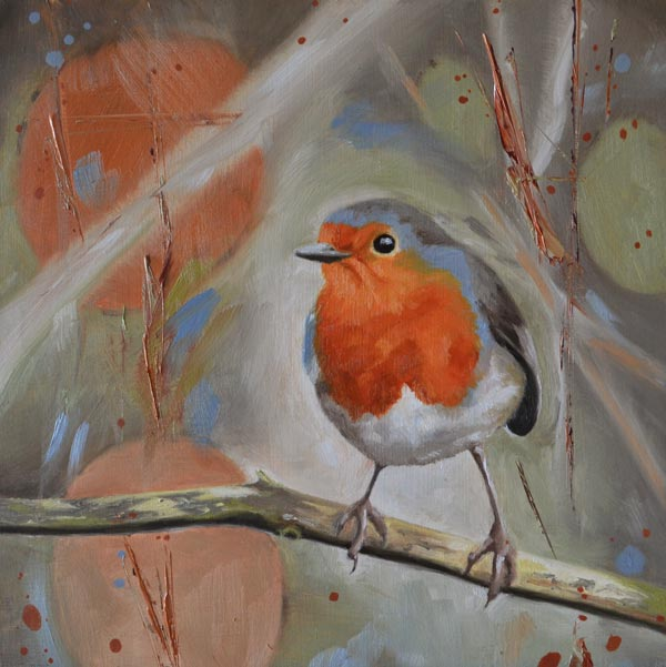 Oil Painting Of A Robin