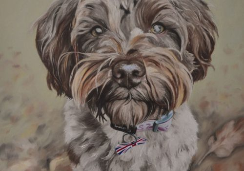 Schnoodle Dog Portrait Oil Painting