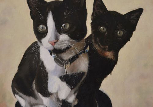Oil Painting Of Two Cats, Spike And Willow