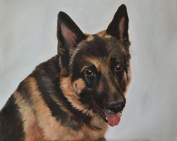 Oil portrait of Saxon, a German Shepherd